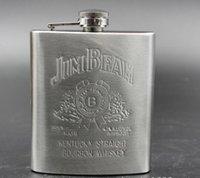 Wholesale Hot oz Stainless Steel Pocket Flask Russian Hip Flask Male Small Portable Mini Shot Bottles Wine flask Liquor flask