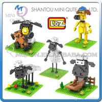 Wholesale DHL Mini Qute LOZ Shaun The Sheep Crawl Shaun Standing Shaun plastic building block brick model Action Figures educational toy