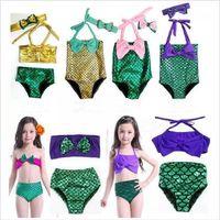Girl bathing suit baby - Baby Mermaid Swimsuit Bow Headband Kids Mermaid Tail Swimwear Bowknot Beachwear Girls Mermaid One Piece Bikini Fish Tail Bathing Suit G22