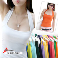 Women Solid None Wholesale-new women Halter Neck Sheath slim vest sexy camis soft Candy colors cotton shirt tank tops sleeveless garment for girl