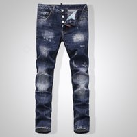 Wholesale Kmo new Men s Jeans for DSQ D2 Classic Men s Fashion High Quality Iron Anchor Hole In Skinny Jeans Men