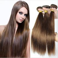 Brazalete brasileño de pelo recto 3 paquetes Ligero castaño de color marrón Cabello humano teje Color4 Extensiones de pelo marrón