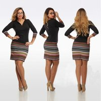 Wholesale women clothes Bodycon Casual dresses black summer club dresses Stripes Splicing Pattern sexy mini dress