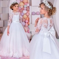 arrival knotted - 2017 New Arrival Flower Girl s Dresses Sheer Neck Sleeves Jewel Neck Floor Length Princess Big Bow Knot Girls Dresses Birthday Gowns