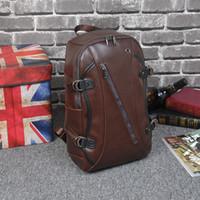 Hommes Brown Sacs à dos en cuir PU Sac à dos pour hommes Sacs de voyage Western College Style School Bag Mochila Feminina A655