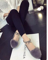 beaded toe rings - The spring and autumn new rabbit flat pointed shoes Doug Korean ring Beaded leisure slippers