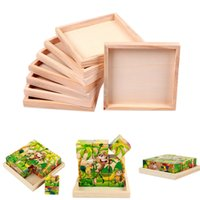 Wholesale Wood Plate for Toy cm X cm Kids Six Sided Painting Building Block Wood Pallet