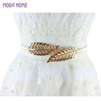 Wholesale Vintage Women Belt Leaf Design Clasp Front Stretch Metal Waist Belt Skinny Elastic Cinturon Ceinture Femme Gold Silver