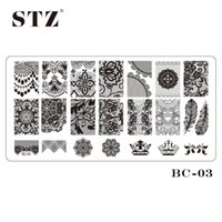 BC03 bc designs - BC Nail Art DIY Beauty Black Lace Flower Designs Tools Stamp Stamping Plates Manicure Templates Nail Stencils Polish