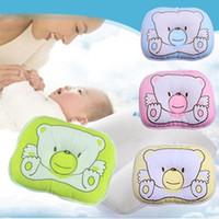 Wholesale 2017 New cotton baby boys girls Infant newborn Concave bedding print cute bear oval shape Neck Support safe shape pillow CM