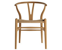 Wholesale Fork bone Rattan chair Y Chair Solid Wood Dining chair modern simple dining chair Nordic solid wood leisure chair Armrests Back Dine chair