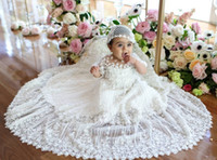 baby girls baptism - Newborn D Appliqued Christening Dresses With Sleeves For Baby Girl Baptism Gowns Cheap Beaded Kid First Communication Dress