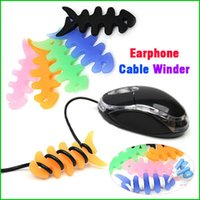 Wholesale Fish Bone Earphone Cable Winder for iPod Mp3 Mp4 Earphone Cable Tidy Winder Soft Silicone Cord Wrap