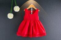 Robes filles 2017 été nouveaux enfants reins rouges princesse robe filles épissure tulle gilet robe mode enfants vêtements T1754