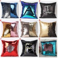 Wholesale Hot sale Sequin Pillow Case Cover Reversible Cushion Cover Home Sofa Car Decor Mermaid Bright Pillow Covers cm