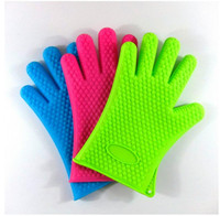 bake microwave oven - Glove Heat Resistant BBQ Bake Silicone Gloves Oven Mitts Anti Slip Grip Best for Microwave Grilling and Baking Fingers Home Gloves Cooking