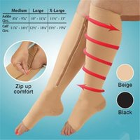 Wholesale Zip Sox Zip Up Zippered Compression Knee Socks Supports Stockings Leg Open Toe Hot Shaper Black and Beige Free DHL