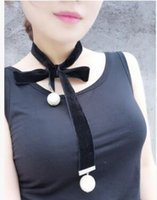 achat en gros de rubans joker-Broche de velours soie ruban rivets perle colliers colliers Joker vêtements exagérée mode long chandail chaîne de velours ceinture de velours