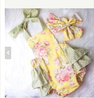 Wholesale 2017 New Summer Baby Clothes Floral Baby Rompers Girls Boutique Clothing One piece Outfits Baby Bubble Rompers Jumpsuit Flower Girls Clothes