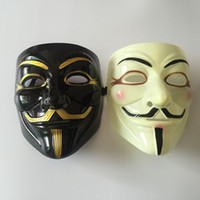 Wholesale Halloween Mask With Gold Eyeliner V for Vendetta Mask Guy Fawkes Party Costume Mask DHL Fedex