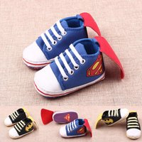 Wholesale Super Man Baby Shoes Infant Boys Walkers Pants Cartoon Pattern Batman Year Comfort Baby First Walkers