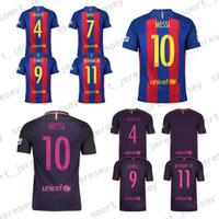 Wholesale 2017 Top Thailand Quality Neymar SUAREZ Soccer Jerseys Messi ARDA A INIESTA SUAREZ SERGIO PIQUE I RAKITIC Soccer Jersey Uniforms