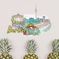 berlin wall piece - Germany Berlin Landmark Architecture Building Illustration Pattern Removable Wall Sticker Art Decals Mural DIY Wallpaper for Room Decal