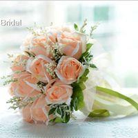 Wholesale Peach Color Fabric Rose Bridal Bouquet Hot Handflower Wedding Bridal Throw Flower Bridesmaid Bouquet Decoration Wedding Flower with Ribbon