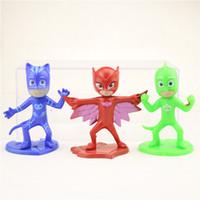 Wholesale PJMASKS PJ MASKS Action Figure Toys cm Catboy Owlette Gekko Cloak Plastic Dolls Christmas Gift for Boy OPP Bag Packing
