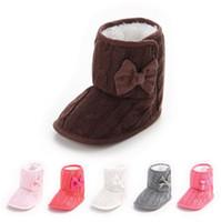 Wholesale Baby Girl Warm Walkers Shoes Winter Crochet Knit Bowknot Shoes Kids Prewalk Faux Fleece Snow Boot Soft Sole Kids Wool Baby Shoes PPA814
