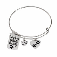 Wholesale Lovely Paw Prints Bracelet quot Dog Hair Completes the Outfit quot Dog Tag Heart Shape Charm Bangle Pet Lover Jewlry