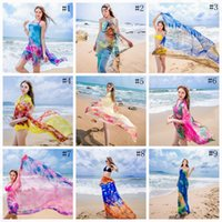 venda por atacado beach dress-Mulheres Silky Tulle Beach Wrap Dazzle Floral Bikini Cover Ups Sexy Pareo Verão Summer Sarong Swimwear Cover Up Scarf Xaile Beach Toalha OOA1279
