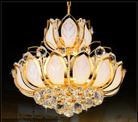 Wholesale Lotus Flower Ceiling Light Modern Crystal Chandelier Lighting E14 Holder Lights Gold Chandeliers V V W cm