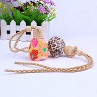 air freshener bottles - 15ml Car Scent Bottle Air Freshener Decoration Colored Ceramic Essential Oil Perfume Empty Bottle Car Pandent Aromatherapy Diffuser C