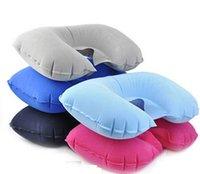 Wholesale HOT Inflatable u shaped pillow mat neck pillow office outdoor rest neck pillow flight color optional