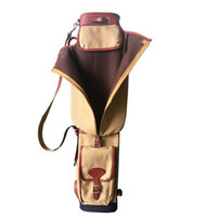 Wholesale Tourbon Pencil Style Golf Club Carrier Canvas Leather Vintage Golf Gun Bag with Pockets Side Clubs Interlayer Cover CM