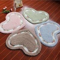 Wholesale Perfect Floral Rose Heart Shape Bath Accent Rug Floor Mat Cheap Newest Decor by heartybay Bedroom Carpets cm