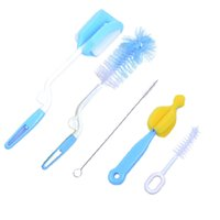 baby bottle accessories - 5pcs set brand sponge plastic glass milk water newborn baby bottle brush feeding nipple straw mother kids products accessories