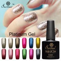 Wholesale Saviland ml D Platinum Diamond Glitter Soak Off Semi Permanent LED UV Gel Nail Polish Shining Colorful Gel Varnish