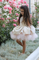 Girl Beads Tulle cheap ball gown flower girl dresses beaded neck knee length tulle christmas pageant dress custom made