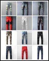 al por mayor jean mans-Designer Hole Hombre Biker Jeans Pantalones vaqueros clásicos Lavar Cowboy Slim Denim Pantalones Skinny Pantalones Casual Mens Ripped Jean Jeans Motocicleta