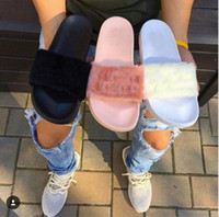 Wholesale Dust Bags Box Rihanna Fenty Slippers Fenty LEADCAT Fur Slide Slippers Rihanna fenty Slide Women Indoor Black Slides Sandals