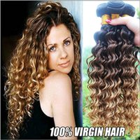 Cheap Ombre Hair Extensions Indian Deep Wave Virgin Hair Weave Bundles Three Tone 1b 4 27# Grade 9A Ombre Remy Human Hair Weft 3Pcs