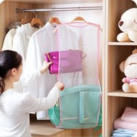 laundry products - Multifunctional Clothes Rack Drying Hanging Bag Dryer Mesh Laundry Towel Doll Pillow Double Layer Storage Net Practical Product