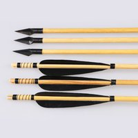 Compound Bow archery long bow - 6pcs Black Feathers Fletching Archery Wooden Shaft Hunting Arrows with A Broadheads Grain for Recurve Long Bows