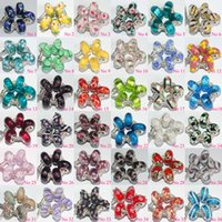 Wholesale 100 Mixed Sterling Silver Murano Lampwork Glass Beads Charm Handmade Big Hole Loose Beads For Pandora European Bracelet Necklace Xma