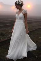 Wholesale 2017 Modest Cap Sleeve Wedding Dresses Ivory Chiffon Appliqued Lace A line Backless Bridal Gowns Country Beach Style Vestido De Noiva Praia
