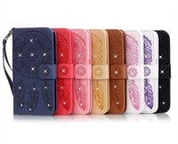 bell wallet - Lucky bells pattern Diamonds PU Wlallet Leather Flip Soft Case with ID Card Slot Holder Wrist Strap for Iphone plus Samsung S6 S7