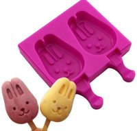 FBA Custom Logo Drop Shipping Nouveau 2 cavités Bunny Rabbit Cartoon Animal Shape Chocolate Silicone Lollipop Ice Cream Cube Popsicle Moule