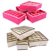 Wholesale 4Set Bra Underwear Sock Ties Drawer Divider Closet Organizer Storage Box Container Non woven Fabric Home Essential